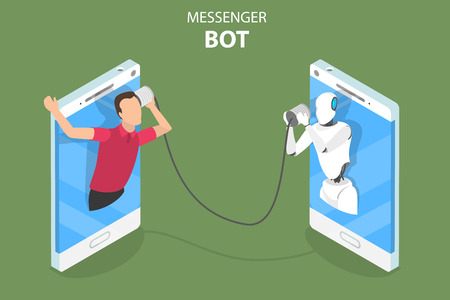 Flat isometric vector concept of messenger bot, ai, artificial intelligence, customer support, markting strategy.
