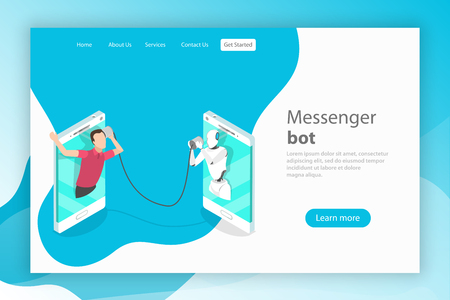 Flat isometric vector landing page template. Messenger bot, ai, artificial intelligence, customer support, markting strategy. Ilustração