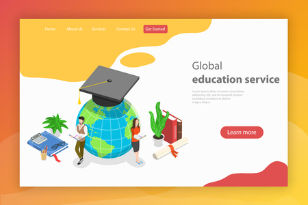 Global education service. Isometric flat vector landing page template.
