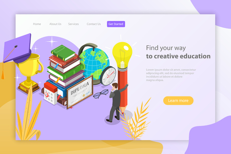 Find your way to creative education. Isometric flat vector landing page template.