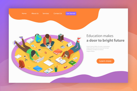 Education makes a door to bright future. Isometric flat vector landing page template.
