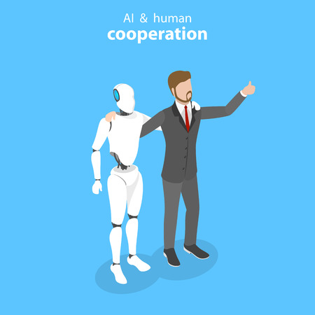 Flat isometric vector concept of robot and human cooperation.