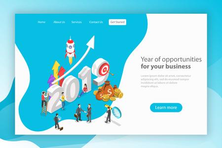 Anno di opportunità per il tuo business. Modello di pagina di destinazione di vettore piatto isometrico.