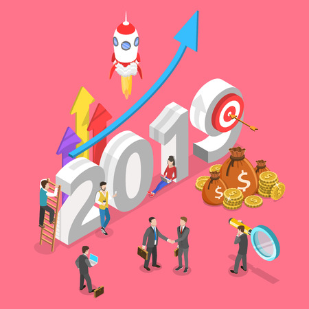 Isometric flat vector concept of 2019 - year of opportunities.