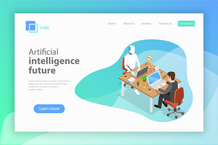 Flat isometric vector landing page for AI future.