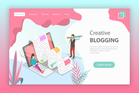 Isometric flat vector landing page for creative blogging.