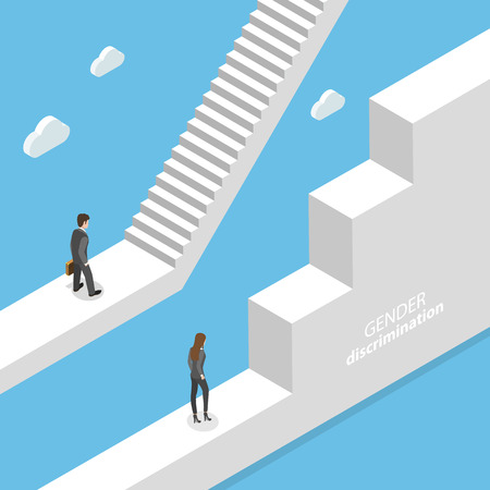 Gender discrimination and inequality isometric flat vector concept. Stockfoto - 115522504