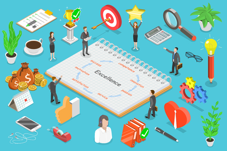 Business excellence isometric flat vector conceptual illustration. Stock Photo