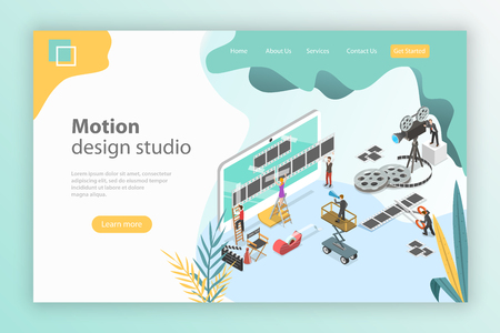 Isometric flat vector landing page template for motion design studio.