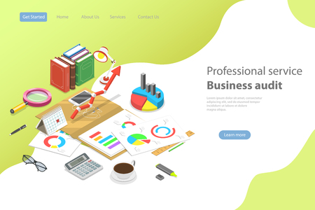 Flat isometric vector landing page template for business audit service.