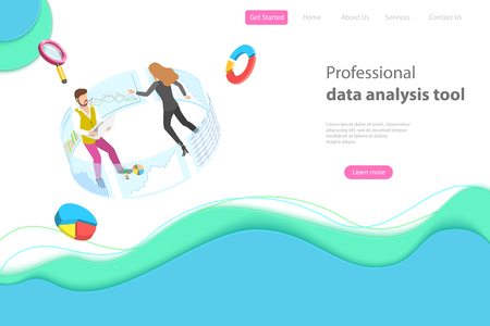 Flat isometric vector landing page template for data analysis.