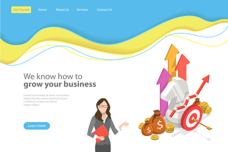 Isometric flat vector landing page template for financial growth, increasing efficiency. Illustration