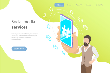 Flat isometric vector concept of social media, networking. Illustration
