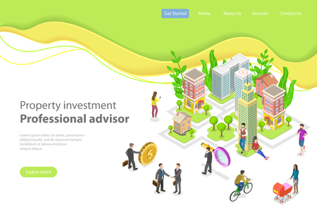 Isometric flat vector landing page template. Investment in property, real estate deal, mortgage.