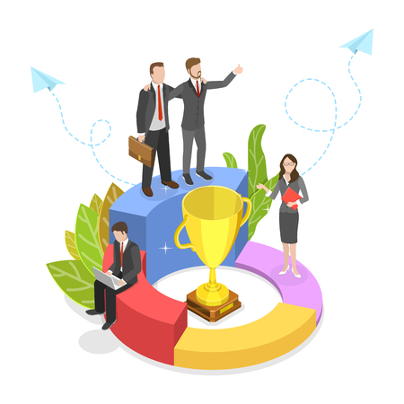 Flat isometric vector concept of successful creative team, teanwork, victory celebrating.