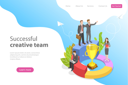 Flat isometric vector landing page template for successful creative team, teanwork, victory celebrating.