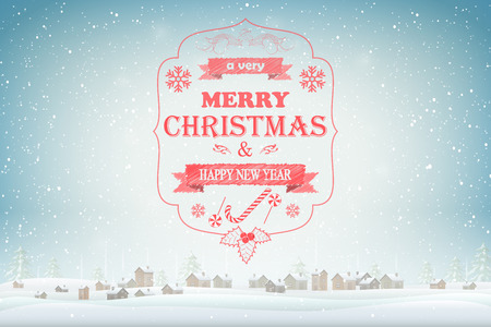 Christmas and New Year typography greetings on Xmas background. Stock Photo
