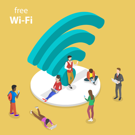 Isometric flat vector concept of free wifi. Illustration