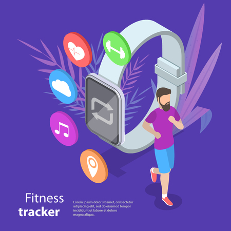Isometric flat vector concept of fitness tracker, smart watch. Illustration