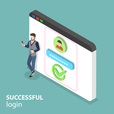 Isometric flat vector concept of successful login.