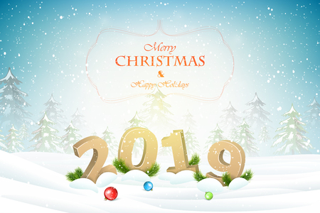 Christmas and New Year typography greetings on Xmas background.