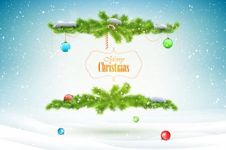 Christmas and New Year typography greetings on Xmas background with winter landscape and snowflakes.