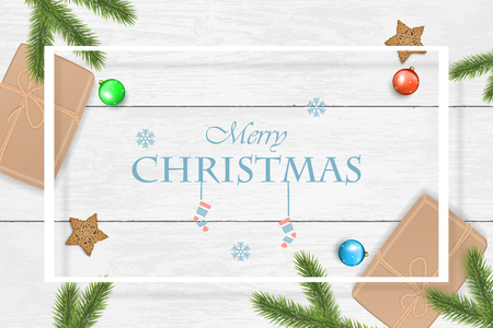 Christmas and New Year vector background for greeting card with, poster. Illustration