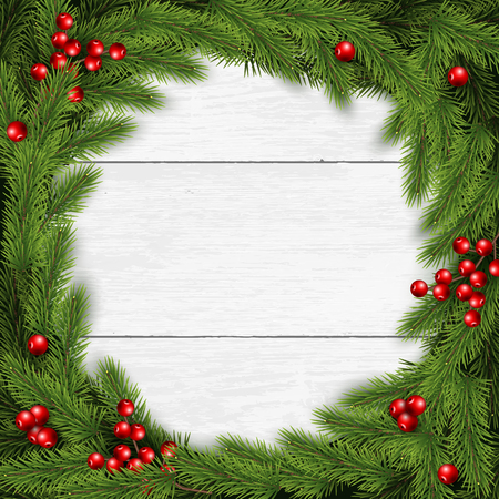 Christmas wreath vector illustration on white wooden background. For greeting card, poster and banner. Pine branches, berries. Illustration