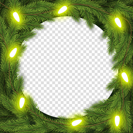 Christmas wreath vector illustration. For greeting card, poster and banner. Light garlands, fir branches.