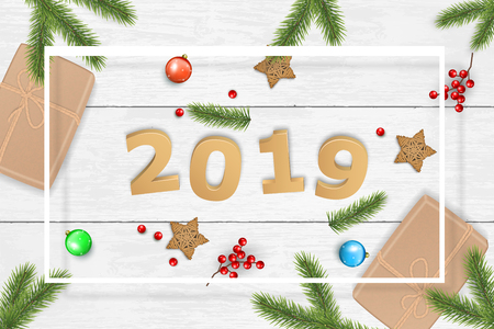 Christmas and 2019 New Year vector on white wooden background. For greeting card, poster and banner. Pine branches, gift boxes, xmas balls and wooden stars. Ilustração