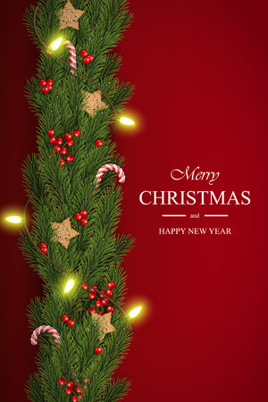 Christmas vector on red background with wishes, pine branches, berries, garlands Illustration