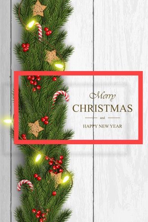 Christmas vector on white wooden background with wishes, pine branches, berries, wooden stars, candy canes and garlands. For greeting card, poster and banner. Ilustração