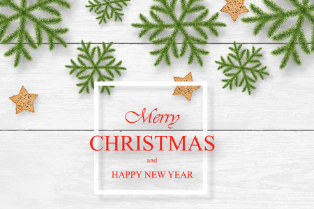 Christmas vector on white wooden background with wishes, pine flakes, snowflakes and wooden stars. For greeting card, poster and banner. Illustration