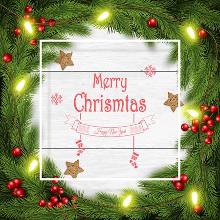 Christmas wreath vector illustration on white wooden background. Illustration