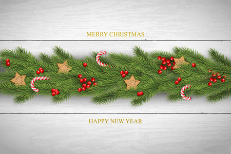 Christmas vector on white wooden background with wishes, pine branches, berries, wooden stars and candy canes. For greeting card, poster and banner. Ilustração