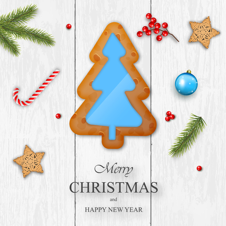 Christmas vector on white wooden background with wishes, pine branches, gingerbread, wooden stars and berries. For greeting card, poster and banner.