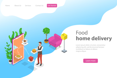 Isometric flat vector landing page template for food home delivery, online ordering, restaurant reservation. Illustration