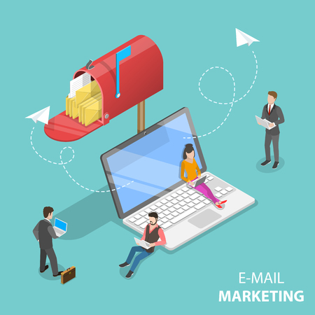 Isometric vector concept of e-mail marketing, product promoting