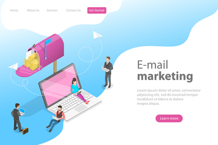 Isometric vector landing page template for e-mail marketing, product promoting, advertising campaign, digital promotion.