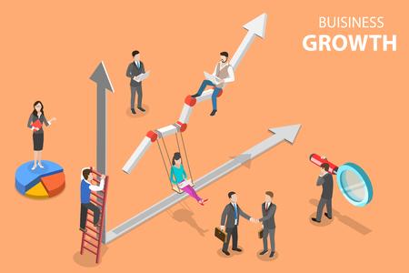 Concepto de vector plano isométrico de crecimiento empresarial, aumentando la eficiencia.