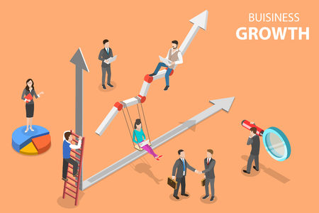 Isometric flat vector concept of business growth, increasing efficiency. Иллюстрация