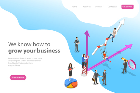 Isometric flat vector landing page template for business growth, increasing efficiency, profit.