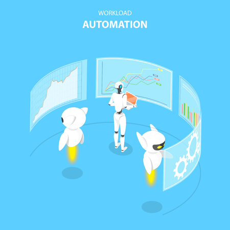Isometric flat vector concept of workload automation, job scheduling, ai, big data, financial analysis.
