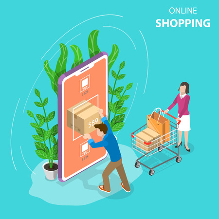 Flat isometric vector concept of mobile shopping, e-commerce, online store, payment.