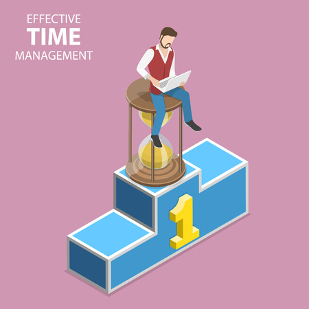 Isometric flat vector concept of effective time management, planning.