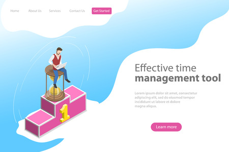 Isometric flat vector landing page template for effective time management, planning and strategy, job scheduling.