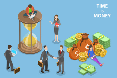 Flat isometric vector concept of time is money, income growth, roi.