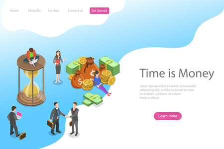 Flat isometric vector landing page template for time is money, income growth, roi, financial investments, time management and planning.