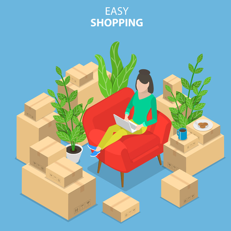 Flat isometric vector concept of easy shopping, e-commerce, online store, mobile payment, fast delivery,