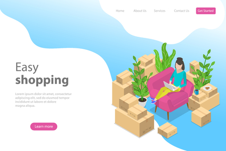 Flat isometric vector landing page template for easy shopping, e-commerce.